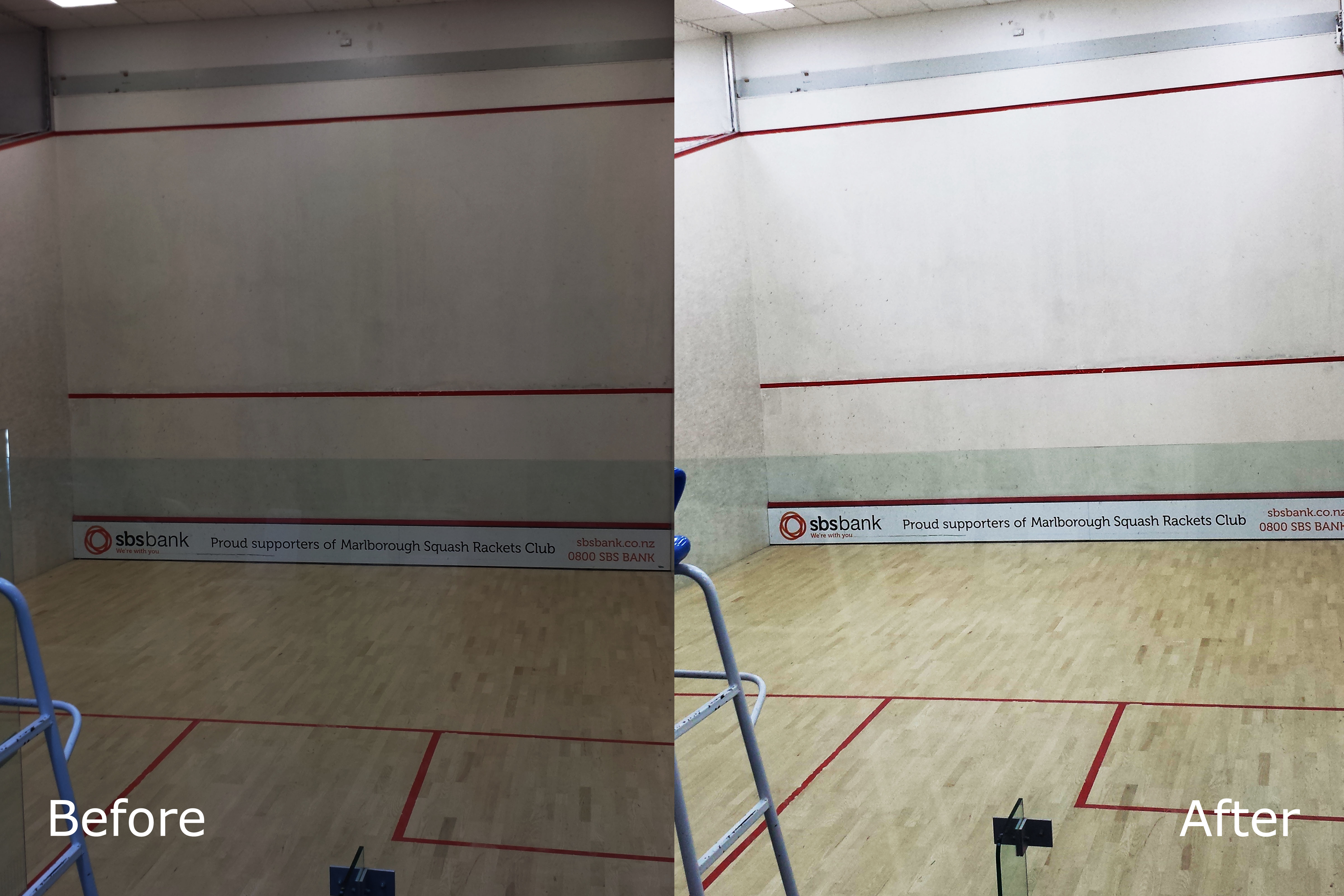 Before and after Stradium 2000 Squash court